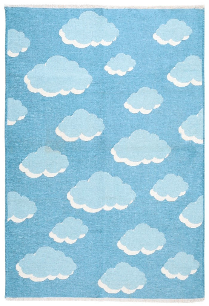 Ковер детский My Home Moretti Side двусторонний голубой Облака