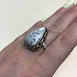 Агат кольцо капля дендритовый опал размер 17,7 кольцо с дендро-агатом в серебре Индия, фото 2