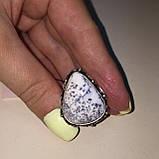 Агат кольцо капля дендритовый опал размер 17,7 кольцо с дендро-агатом в серебре Индия, фото 5