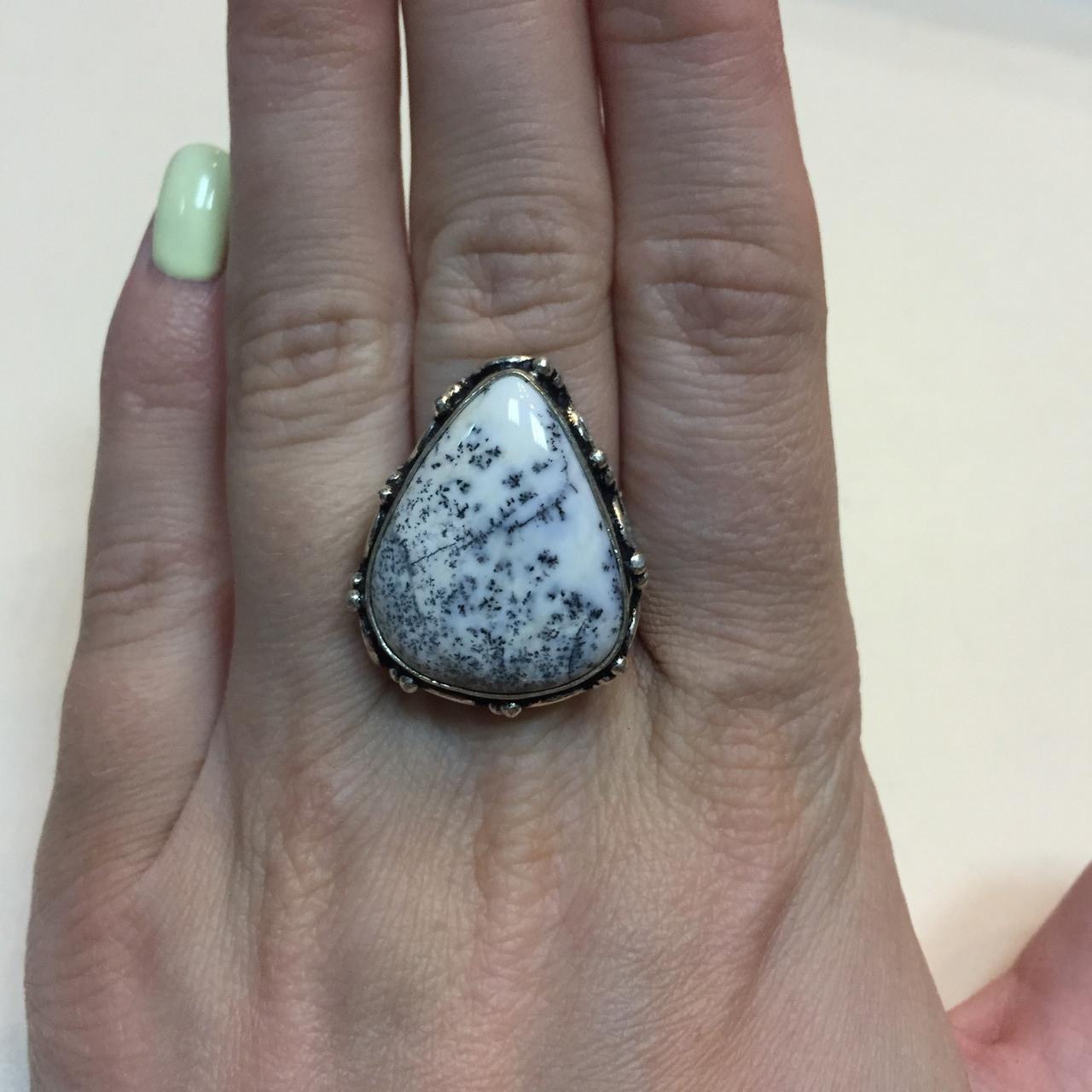 Агат кольцо капля дендритовый опал размер 17,7 кольцо с дендро-агатом в серебре Индия