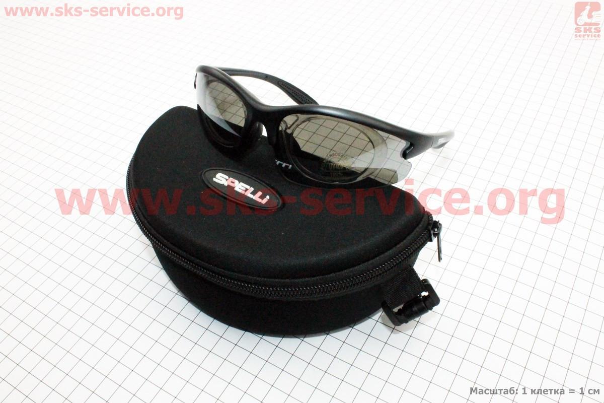 Велоочки черные + линзы сменные 4к-кт + набор для ухода, в чехле жестком SGL-643