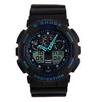 Спортивные наручные часы Casio G-Shock ga-100 Black-Blue Касио реплика