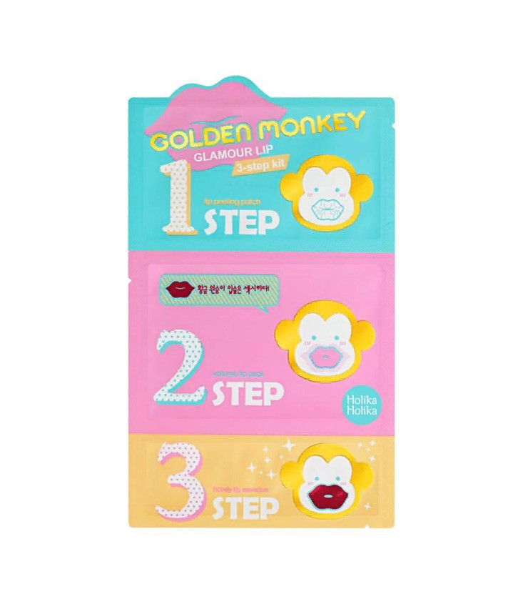 Набор для ухода за губами Holika Holika Golden Monkey Glamour Lip 3-Step Kit 2г + 25г + 3г (8806334357788)