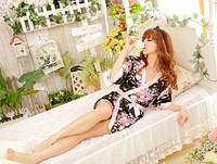 Эротический халатик кимоно черно розовый