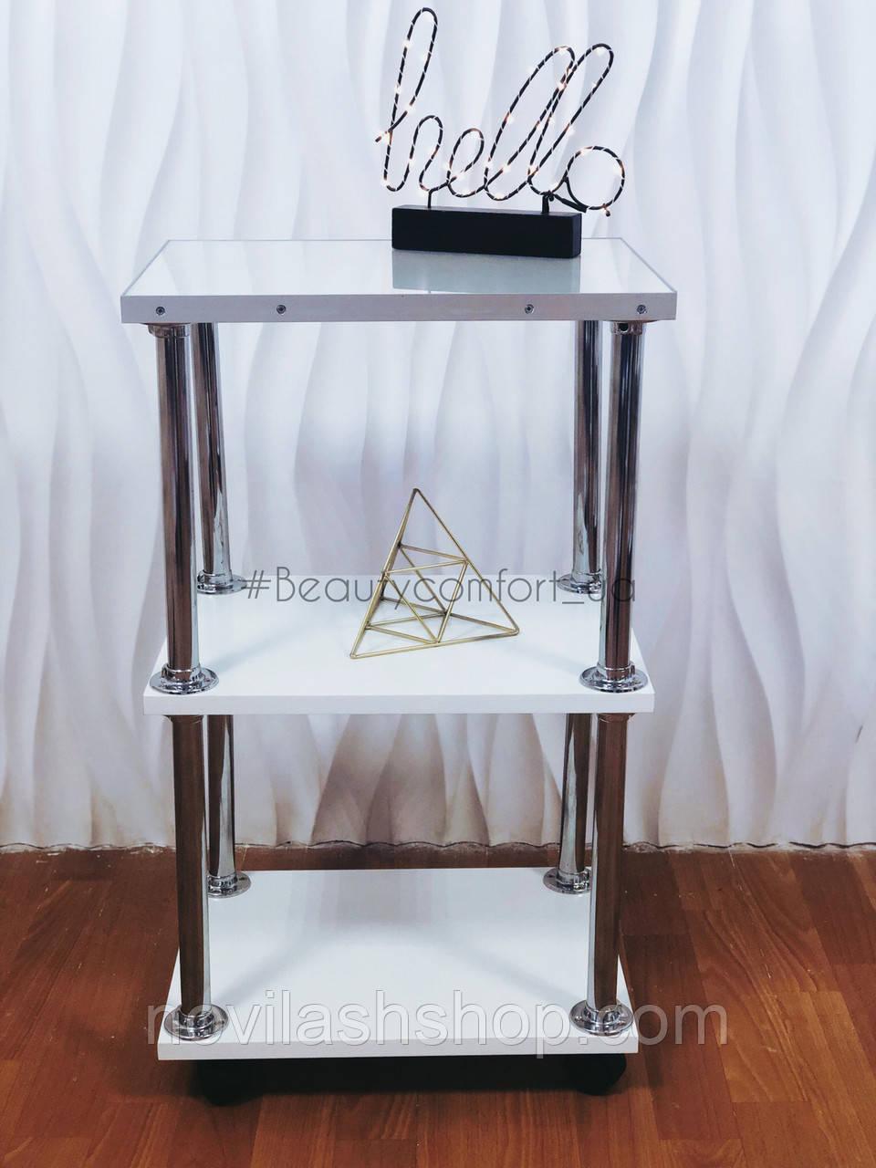 Тележка с защитным стеклом на верхней полке для мастера