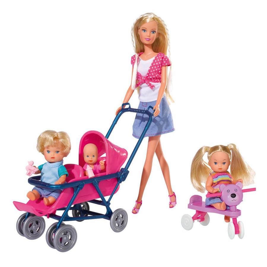 Набор Кукла Штеффи с детьми, коляской и кроваткой 5736350 ...