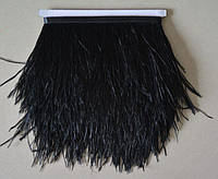 Перья страуса на ленте. Цвет Черный. Перо 8-12см. Цена за 0,5м.