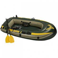 Двухместная надувная лодка Intex 68347 Seahawk до 200 кг 236Х114Х41 см + весла и насос лодка для плавания
