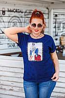 Женская летняя футболка №15202 (р.50-56) синяя, фото 1