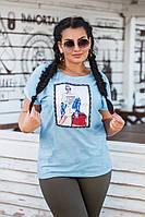 Женская летняя футболка №15202 (р.50-56) голубой, фото 1