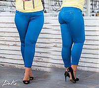 Женский стильные капри большого размера №9373.1 (р.46-60) джинс, фото 1