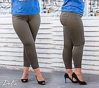 Женский стильные капри большого размера №9373.1 (р.46-60) хаки
