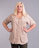 Блузка женская бежевая, батал, на 54-58 размеры