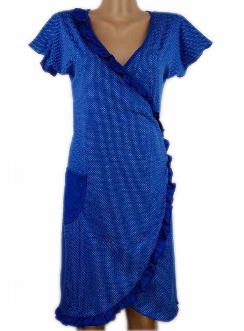 Короткий халат на запах домашній жіночий літній, синій