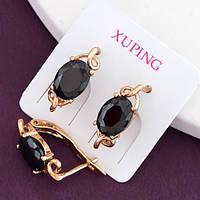 """Серьги Xuping Jewelry """"Ханна"""" черный камень, медицинское золото, позолота 18К, английский замок. А/В 3632"""