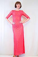 Шикарное нарядное утонченное красивое длинное гипюровое облегающее платье 42 44 46 48 50