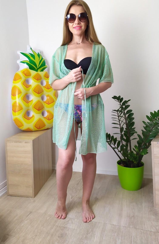 Пляжная женская туника сетка мятного цвета L-2XL