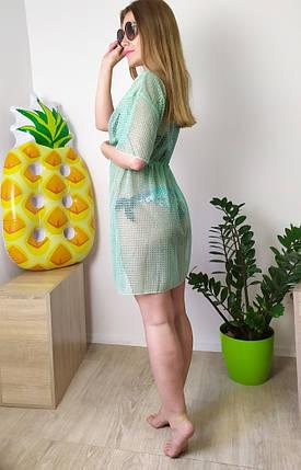 Пляжная женская туника сетка мятного цвета L-2XL, фото 2