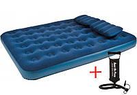 Матрас надувной двухместный Jilong 21470 с двумя подушками и насосом в комплекте (203 x 152 x 22 см)