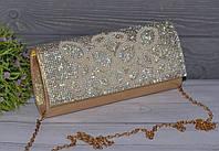 Вечерний золотистый женский клатч со стразами, фото 1