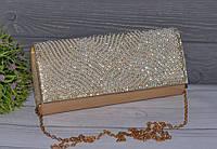 Шикарный вечерний золотистый женский клатч со стразами, фото 1