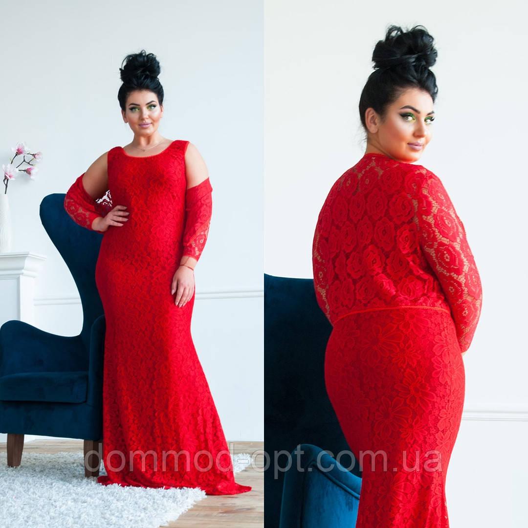 Жіночий святковий комплект плаття+болеро №4130 (р. 48-56) червоний