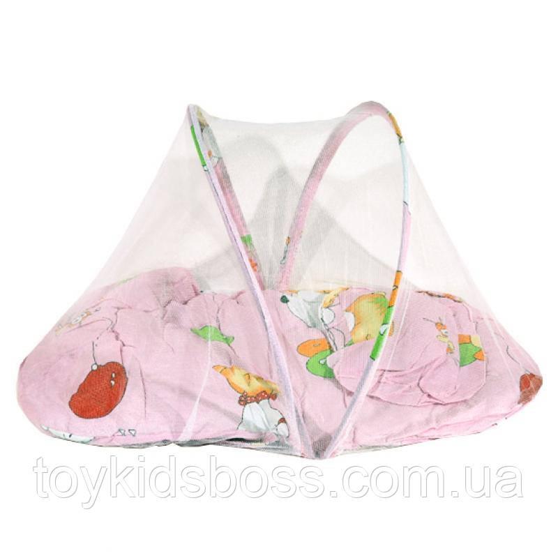 Килимок для немовляти з маскітной сіткою, подушкою
