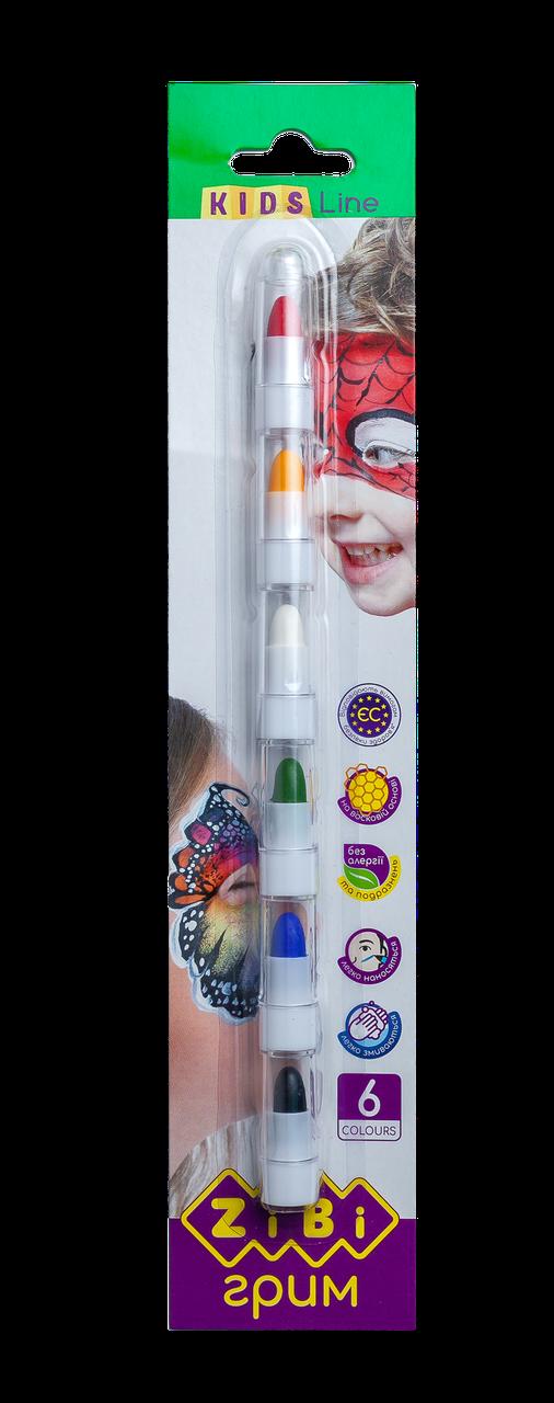 Карандаши для грима лица и тела, Zibi 6 цветов стандарт, KIDS Line