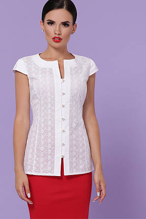 Нежная летняя блуза из прошвы Размеры S, M, L, XL, фото 2