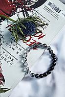 """Браслет """"Амбре"""" из натурального камня турмалин шерл и турмалиновый кварц"""