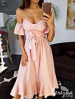 Летнее платье бюстье в мелкий горошек с пышной юбкой с оборками 66ty3149E