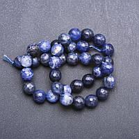 Бусины натуральный камень на нитке Содалит граненный шарик d-9,5+-мм L-37см