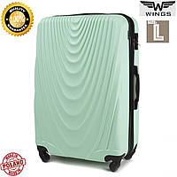 Большой пластиковый  дорожный чемодан мятный на 4 колесах 77 Х 48 Х 32 СМ  Wings Украина Одесса
