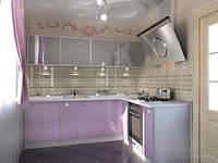 Кухня на заказ с розовым фасадом и матовыми стеклами