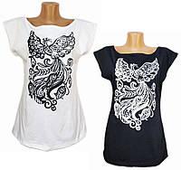 Женская футболка с рисунком. Блуза со спущенными рукавами. Женская легкая блуза.