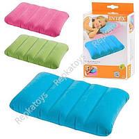 Подушка INTEX надувная, цветная, в кор-ке  (ОПТОМ) 68676