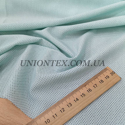 Ткань супер софт принт мелкий горох на мятном, фото 2