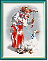 Репродукция  современной картины  «Клоун с гусем Гуся» 30 x 40 cm