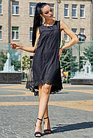 Изысканное Летнее Платье с Сеткой и Кружевом Черное M-2XL