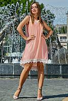 Изысканное Летнее Платье с Сеткой и Кружевом Персиковое M-2XL