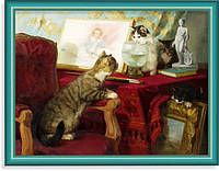 Репродукция  современной картины  «Смотри, как хвостом виляет»