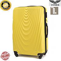 Большой пластиковый  дорожный чемодан желтый на 4 колесах 77 Х 48 Х 32 СМ  Wings Украина Одесса