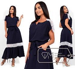 Красивое летнее женское платье в пол из льна с кружевом  батал 48-54 размер, фото 2