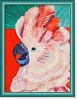 Репродукция  современной картины  «Какаду на красном»