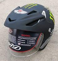 Шлем AD-168 чёрный - матовый с рисунком без бороды