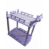 Столик сервировочный сиреневый (массив дерева),фигурные  столешницы,  (70х64х40 см) Код:30524A
