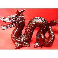 Дракон с рогом каменная крошка коричневый (19х15 см) Код:21937