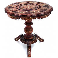 Стол резной с инкрустацией розовое дерево круглый (d-46 см h-47 см)B Код:19106B