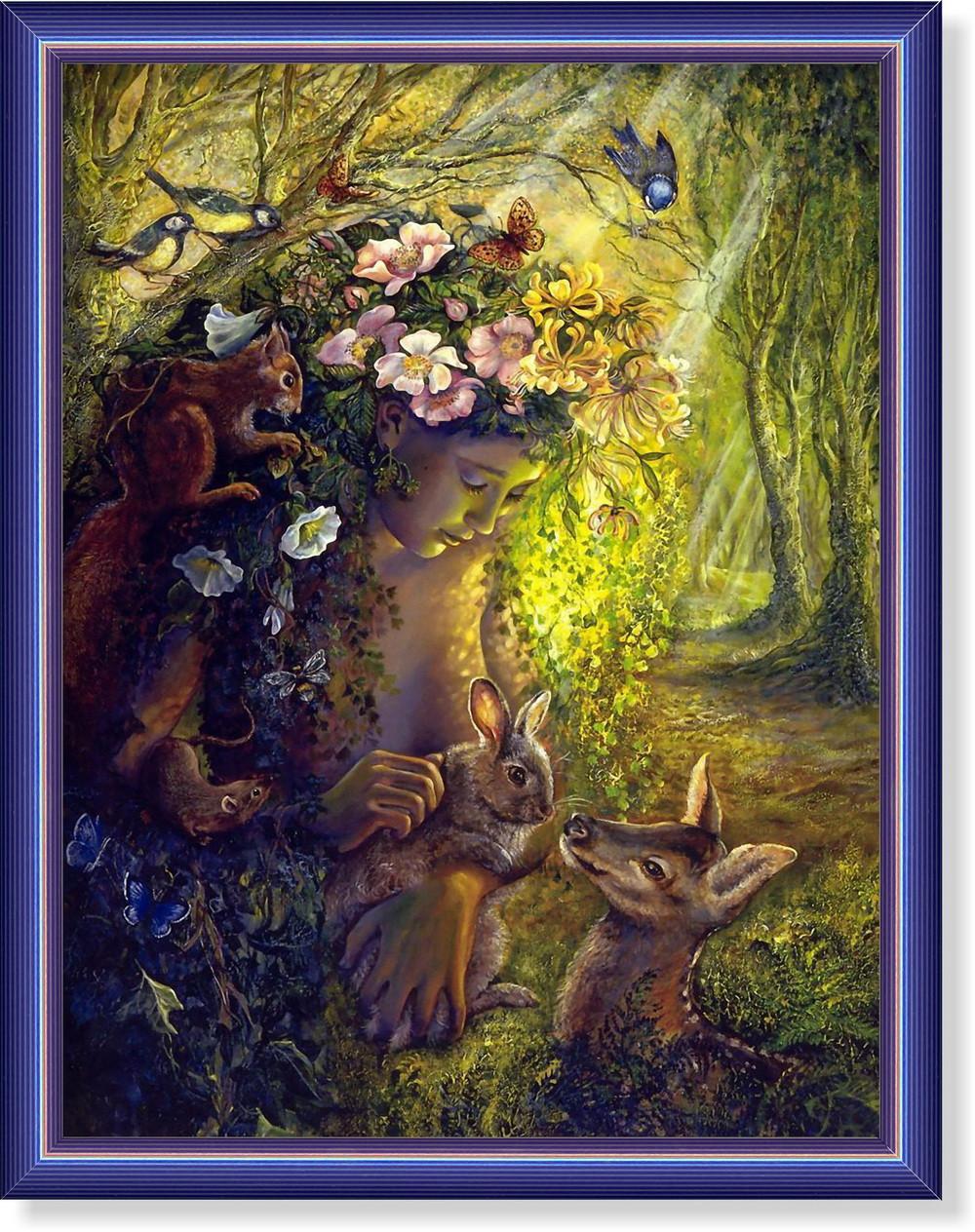 Репродукция  современной картины  «Девочка и оленята»