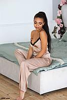 Женская пижама из шелка ни брючная с кружевом 8004 жан Код:851711192